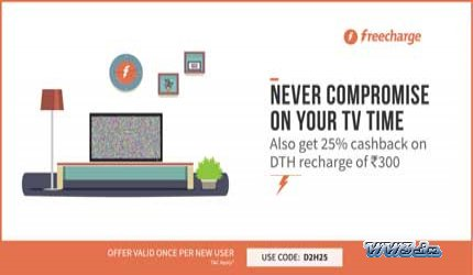 25% Cashback on DTH Recharge-Freecharge-Get flat 25