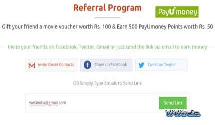 PayUmoney Refer & Earn-Earn Rs 50 per referral to PayUmoney