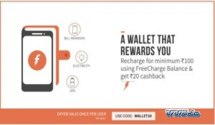 Rs  20 Cashback on Rs  100 on Recharges & Bill Payments-Flat